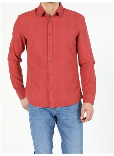 Colin's CL1054951_Q1.V1_BRC Slim Fit Erkek Kiremit Uzun Kol Gömlek Kiremit